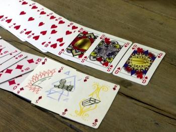 Cards without kings, queens and jacks. Gender neutral deck created in Europe